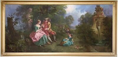 Figures in a Landscape Antique Genre Oil Painting 19th Century French School