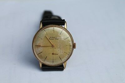 Vintage Old Swiss Made Parat Special Flat Men's Wrist Watch Gold Plated 17Jewels