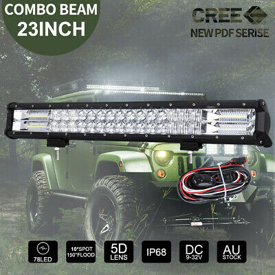 23 inch CREE LED Light Bar Spot Flood 5D Lens Work Driving Fog Bars 12V 24V