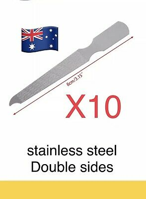 10pcs Dual Sided Stainless Steel Metal Nail File Art Pedicure Manicure Tool