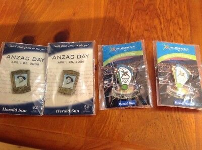 4 X 2006 Badges Herald Sun Anzac And Commonwealth Games