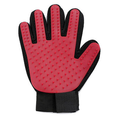 Pet Glove Grooming Brush Cat Massage Dog Hair Deshedding Gentle Cleaning Red