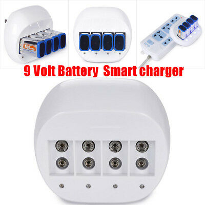 Rechargeable 9Volt Battery Smart Charger for 900mAh 4Pcs 9V Li-ion Lithium White