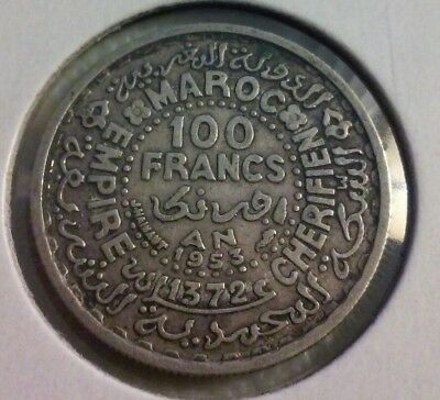 1953 Morocco 100 Francs Coin - KM#52 - .720 Silver  (#IN1252)