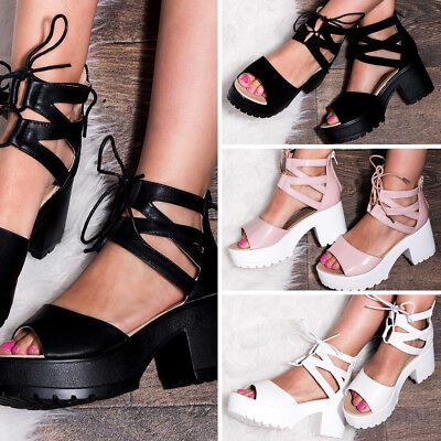 5d56a887fa5 Office Solemate Espadrilles Red White Stripe Source · WOMENS LACE UP  Cleated Sole Block Heel Sandals Pumps Shoes Sz 5 10