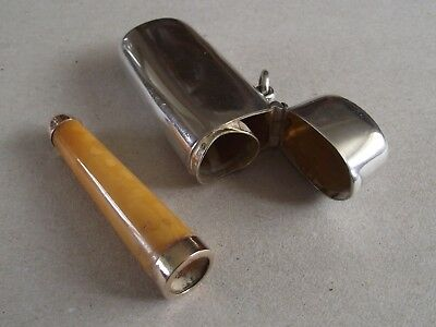 Antique silver Asprey London cheroot holder case with amber & Gold holder