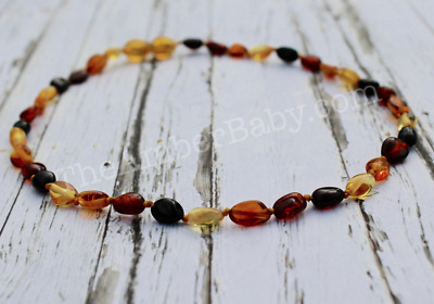 Baltic Amber Baby Necklace POLISHED MULTI Pop Claps Anti-Inflammatory Teeth