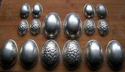 8 PAIRS of METAL EASTER EGG CHOCOLATE MOULDS + SPARES vintage retro kitchenalia