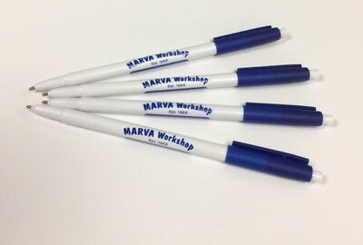 Custom Printed Click Pens (50) Blue & White - Excellent Business or Promo Item!