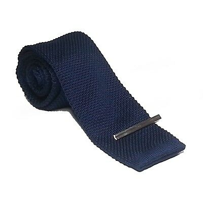 U.S. Polo Assn. Men  Navy Blue Knit Neck Tie with Silver Tone Metal Tie Bar New