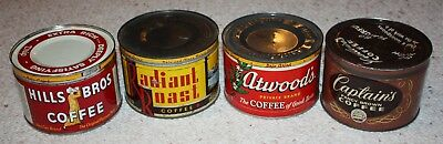 Lot of Vintage Hills Bros., Radiant Roast, Atwood's, and Captain's Coffee Tins