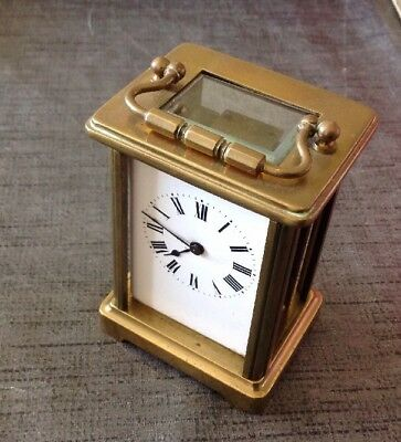 Antique Brass French Carriage Clock Four Glass 140x80x65mm For Restoration