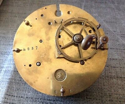 Antique Japy Freres Barrel Clock Movement Chiming for Restoration 82mm Diameter