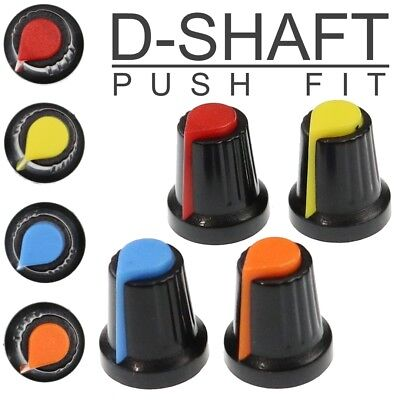 4 Colours D-Shaft 180° Plastic Pot Knobs for 6mm Potentiometer / Rotary Encoder