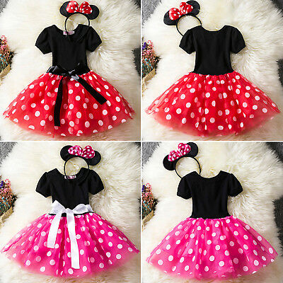 Kids Girls Baby Minnie Mouse Costume Birthday Party Tutu Dress with Headband UK