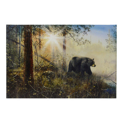 Black Bear LED Lighted Picture Art Light Up Canvas Print Rustic Home Cabin Decor