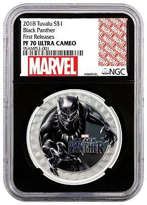 2018 Tuvalu Silver $1 - Marvel Characters - Black Panther - PF70 UC FR NGC Coin