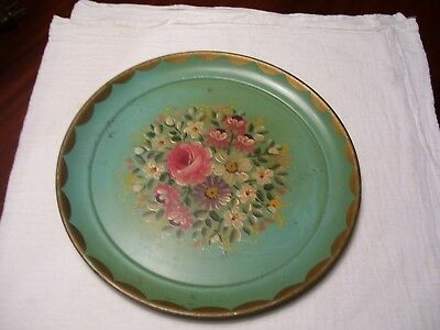 "Vintage Hand Painted Green Round 10"" Toleware Tray  Antique"