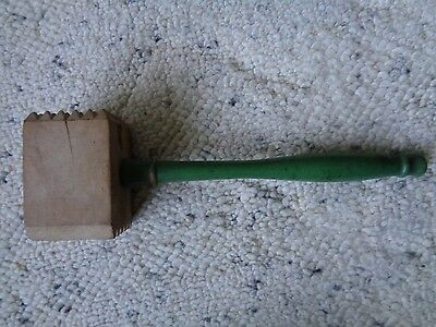 Wooden Meat Tenderizer Vintage Two Sided Green Handle