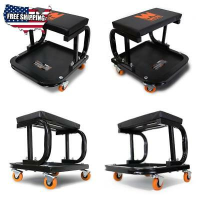 Mechanic Garage Creeper Seat Rolling Stool Chair Tray Storage Work Shop Tool
