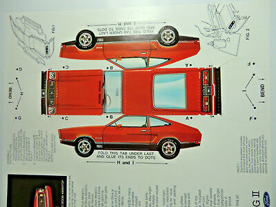 1974 MustangII Mach1 Paper Car Sales Brochure Card Stock Pop Out Model Lot of 2!