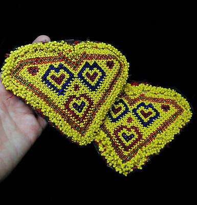 "5.5"" x 4.5"" Beaded Kuchi Heart Patches Tribal Crafts"