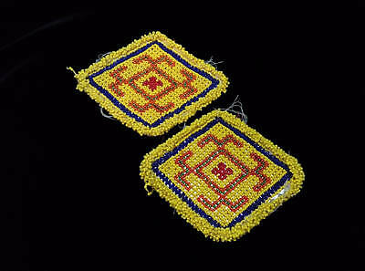 "5.25"" x 4.5"" Beaded Kuchi Evil Eye Talisman Patches Tribal Crafts Jackets Bags"