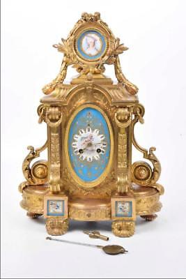 19th Century French Ormolu Sevres Porcelain Mantle Clock By Brevet (45 cm high)