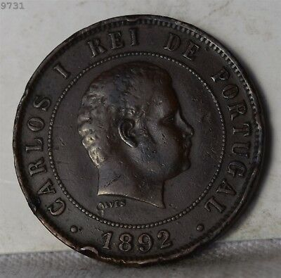 """1892 Portugal 20 Reis """"XF"""" *Free S/H After 1st Item*"""
