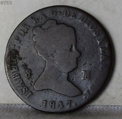 1847-Ja Spain 8 Maravedis *Free S/H After 1st Item*