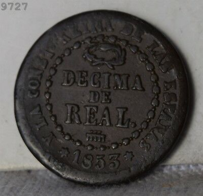 1853 Spain 1/10 Real *Free S/H After 1st Item*