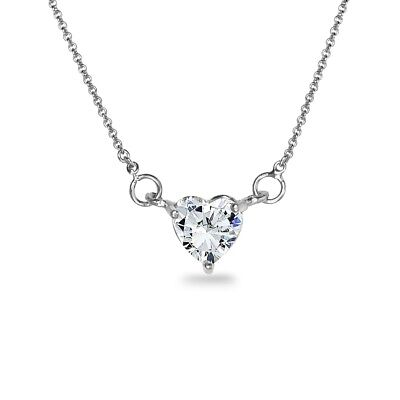 a3254744f1420 STERLING SILVER 6MM Heart Choker Necklace Made with Swarovski Zirconia