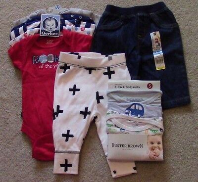 LOT OF 10 BRAND NEW Baby Boy Size 0-3 Months Clothing Clothes Onesies Outfits