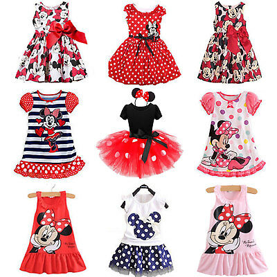 Kids Baby Girls Dresses Cartoon Minnie Mouse Summer Princess Dress Party Casual
