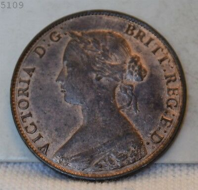 "1861 Great Britain Half Penny ""Choice BU Red Brown"" *Free S/H After 1st Item*"