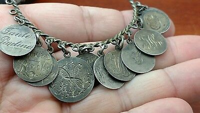 Antique Victorian Silver German Coins Love Token Bracelet