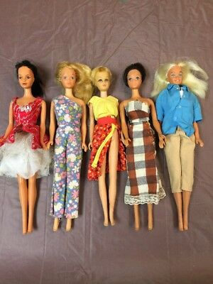 Lot Vintage 1966 BARBIE DOLL Mattel Japan Korea Taiwan Knees Bend Black Clothing