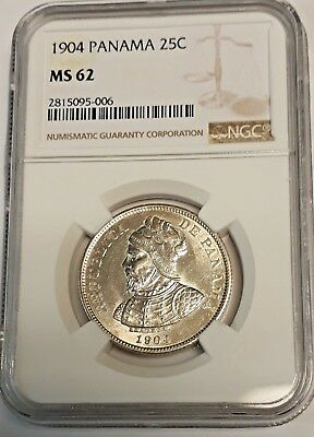 Panama, 25 Centesimos 1904 Silver Coin , Certified By Ngc Ms-62 See Pictures