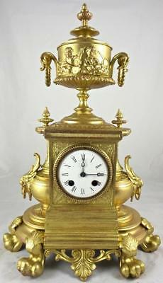 Impressive large antique French Japy Freres 19th c gilt 8 day bell mantle clock