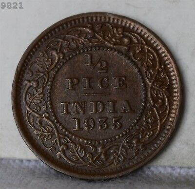 """1935 British India 1/2 Pice """"UNC"""" *Free S/H After 1st Item*"""