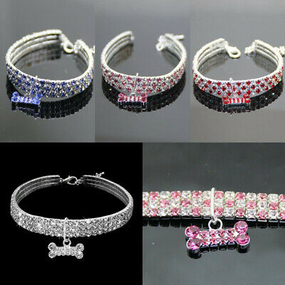 Pet Dog Rhinestone Necklace Collar With Bling Diamond Bone Pendant Party Jewelry