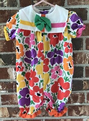 Vintage Baby Girl Bright Floral Romper Bow 9 Months