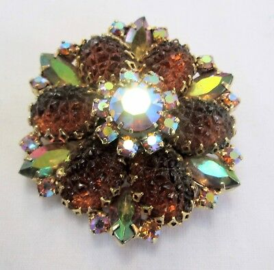 Gorgeous large vintage gold metal, a.b crystal & amber glass brooch