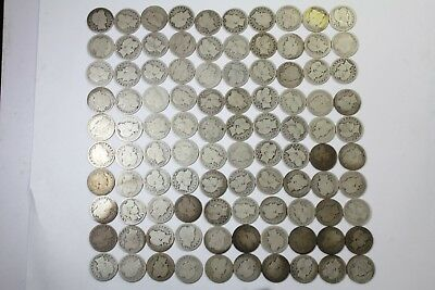 Unsearched 100 Coin Lot Barber Quarters 90% Silver Mixed qualities No Reserve!!