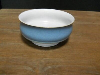 Footed Coupe Cereal bowl Denby Castile Pattern England Blue Tan Multi Color