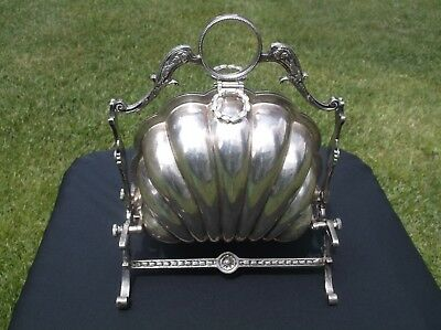 Ornate Antique Victorian Silver Plate Clam  Shell Design Bun Warmer Biscuit Box