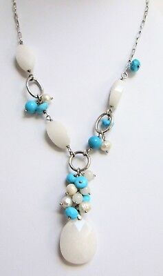 Fine sterling silver, cultured pearl, chalcedony & turquoise pendant necklace