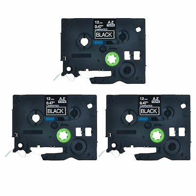 3PK TZ 335 TZe 335 White on Black Label Tape 1/2'' For Brother P-Touch Printer