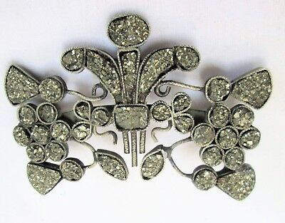 Large antique Victorian gold metal & pyrite ornate flower design brooch