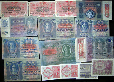 1914 - 1922 Austria Collection Lot 15 Vintage Old Banknotes Paper Money Currency